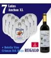 PACK ANIVERSARIO: 7 latas de anchoas XL + REGALO de botella de vino Crianza D.O. Rioja